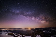 Crescent Moonrise and Milky Way over Lake Tahoe, from the top of Ward Peak