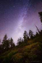 Milky Way over the Mountain, looking up from the Lake View trail at Tahoe XC